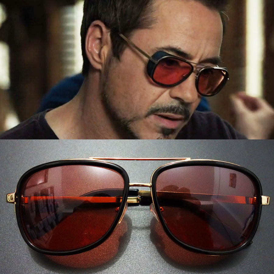 aea4d79713 Tony Stark Iron Man Sunglasses Men Luxury Brand Eyewear Mirror Punk Sun  Glasses