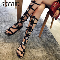 2018 New Genuine Leather Gladiator Knee HIgh Summer Sandal Boots Fashion Metal Sequined Women Sandals Shoes Women