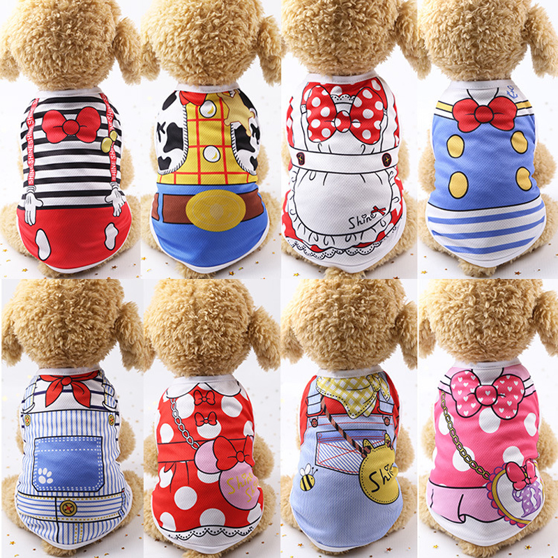Cartoon Pet Dog Clothes Summer Cotton Puppy T Shirt Clothing For Small Dogs Chihuahua French Bulldog Shirt Vest Cat Costume Coat
