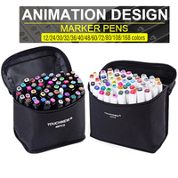 TOUCHFIVE 168 эскизные Маркеры Набор ручек с двойной головкой художественная краска ручка для рисования манга маркер окрашивание ящика поставки ...