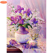 hot deal buy lier 5d diy diamond painting flowers cross stitch diamond embroidery purple flower diamond mosaic painting  home decor gift y879