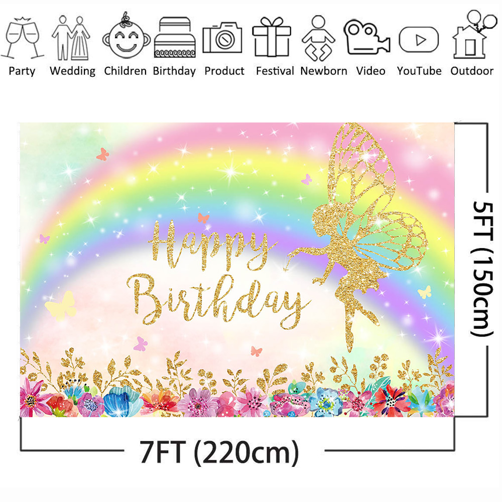 Mehofoto Birthday Photo Background for Photo Background Rainbow Backdrop for Princess Shiny Flower Butterfly Photocall Studio in Background from Consumer Electronics