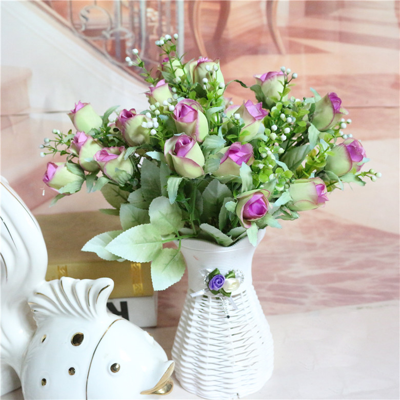 2017 Purple Fresh Rose Artificial Flowers Real Touch For Home Decorations Wedding Party