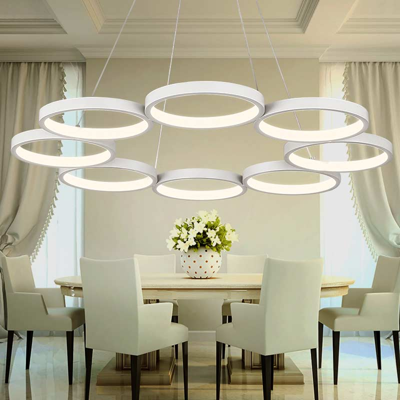 White Acrylic Ring Hanging Lamp Modern Led Pendant Lights Fixtures Living Room Kitchen Dining Room Decor Home Lighting 220V modern foscarini spokes 1 2 pendant lights led hanging lamp industrial cage suspension home decor living room lighting fixtures
