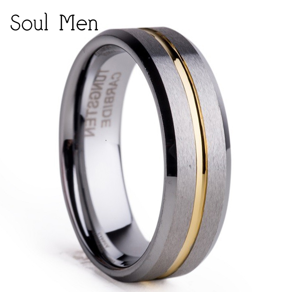 Aliexpress-alibaba Hot Sale Metal Jewelry 6mm Female Tungsten Wedding Band Ring for Women Gold Color Groove Matte Finish TU053R