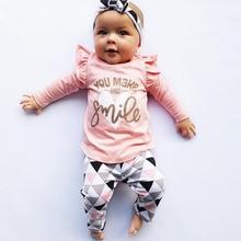 3 предмета, Одежда для новорожденных девочек розовые топы с оборками и рукавами+ штаны с геометрическим рисунком+ повязка на голову, комплект одежды для маленьких девочек