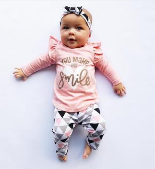 3Pcs noworodek Baby Girl ubrania różowy rękaw Ruffle Tops + geometryczne spodnie + opaska niemowląt Toddler Baby Girls Odzież Set tanie i dobre opinie Dziecko Sets Literę Regularne Bawełna O-Neck Vest Pełne EGHUNOOY Przykryty przycisk Czesankowa Pasuje do rozmiaru Weź swój normalny rozmiar