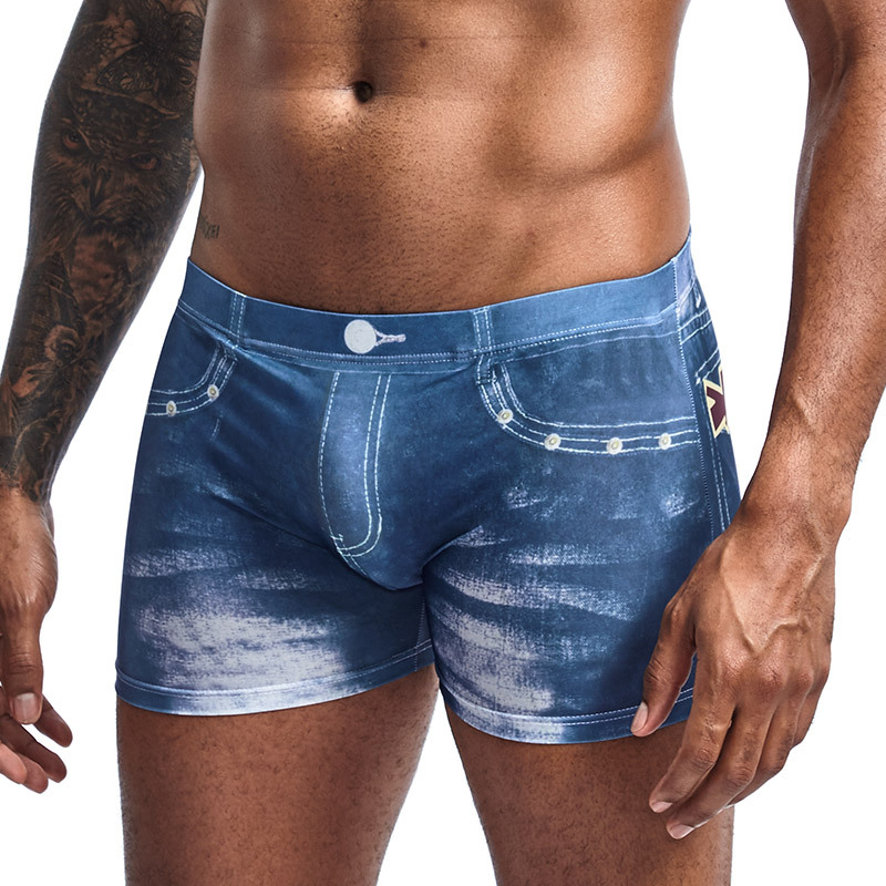 <font><b>Men</b></font> Denim Underwear 3D <font><b>Sexy</b></font> <font><b>Boxer</b></font> Jeans Shorts Classic Print <font><b>Boxers</b></font> <font><b>Mens</b></font> New Fashion Cowboy Underpants Trunks <font><b>Brand</b></font> Underpants image