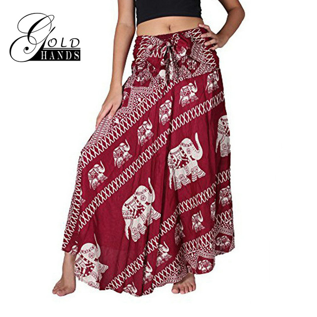 ea33465af7 Gold Hands 2017 New Fashion Women Skirts Elephant Pattern Skirt Maxi Loose  Irregular Indian Style Bohemian Red Long Animal