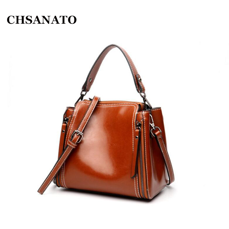 CHSANATO European and American Style Genuine Oil Wax Leather Bucket Bags Handbags Women Famous Brands 2018 Ladies Purses 2017the mostfashion trends european and american brands genuine flowers ladies luxury short shoes club sexy women s shoes