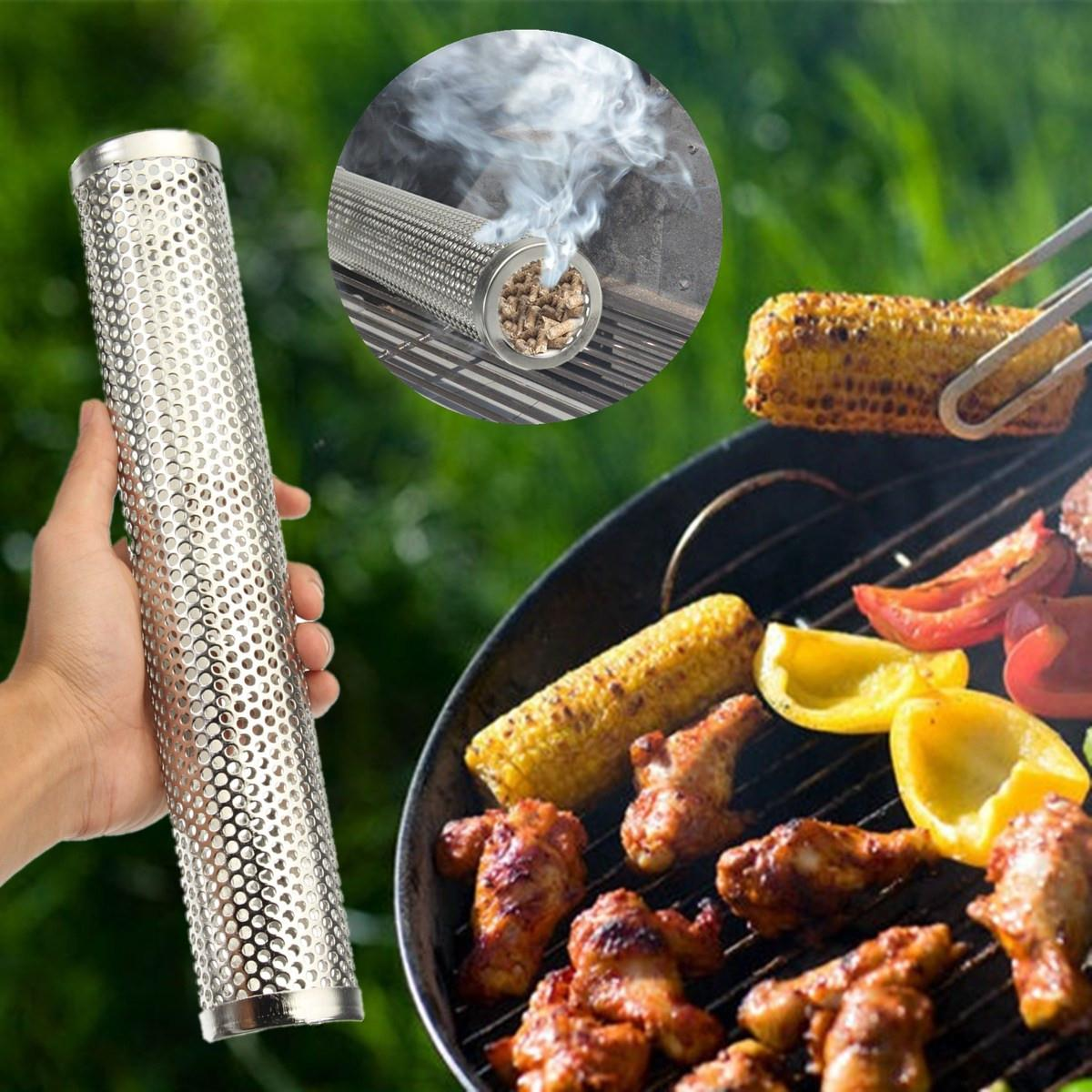 BARBECUE Grill ronde Chaude Fumage À Froid Maille Tube Générateur De Fumée En Acier Inoxydable Fumeur Granulés de Bois Cuisine en Plein Air Barbecue Fournitures