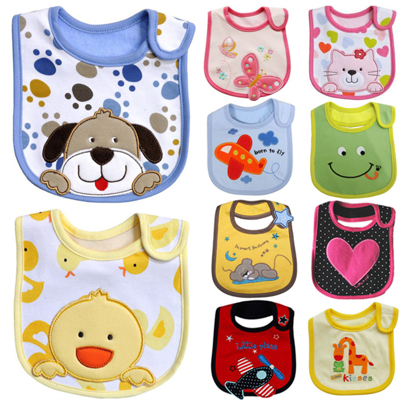 Factory Price 3 pcs/lot Quality Cotton Baby Bib Infant Saliva Towels Baby Waterproof Bib Cartoon Baby Wear Free shipping WZ009 ...