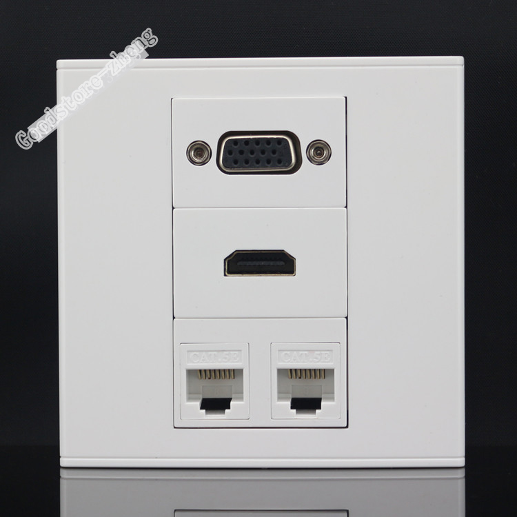 Wall Socket Plate 4 Port Two Ports RJ45 Cat5e Network LAN & Audio and Video VGA & HDMI Panel Faceplate 86x86mm Home Wholesale 86x86mm single double port rj45 thick wall plate faceplate wall mount installation with rj45 & rj11 keystone socket outlet