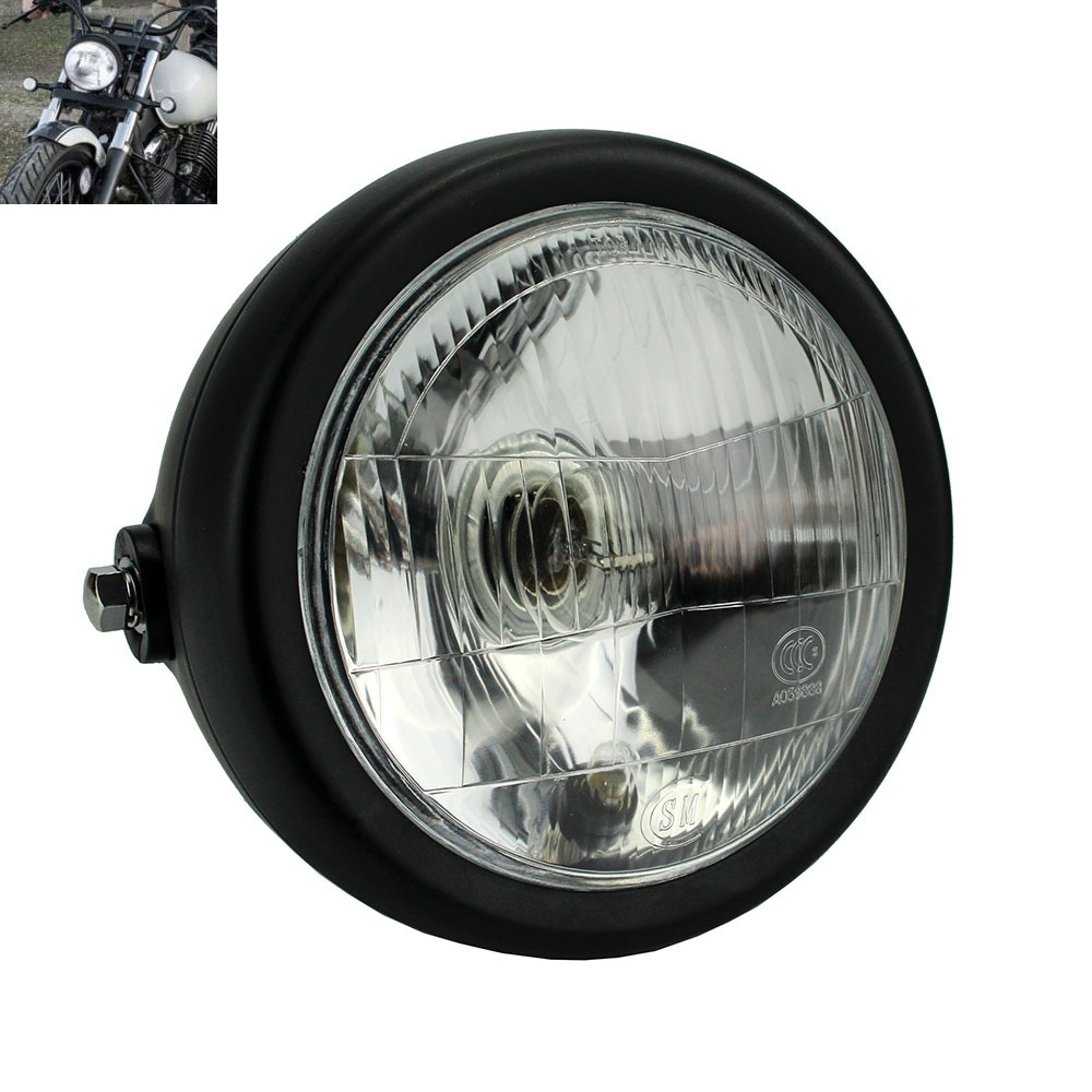 Retro Cafe Racer 6 5 Motorcycle Round Headlight Head font b Lamp b font Halogen Front