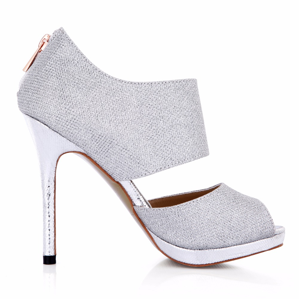 New arrival mujer Two Piece open peep toe Glitter high heels ladies high heel sexy dress prom wedding party shoes for woman in Women 39 s Pumps from Shoes