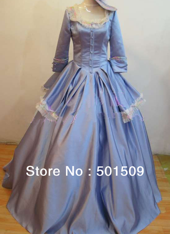 Light Blue Medieval Dress With Hat Renaissance Lace Gown