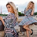 Spring summer Autumn new fashion women plaid print dress casual o-neck half sleeve tunic vintage dresses plus size 63