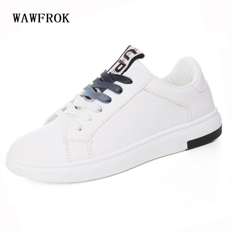 WAWFROK Women Casual Shoes 2018 Summer Spring Sneakers Breathable White Women Flats Fashion Lace-Up 2018 summer sneakers women fashion breathable lycra women casual shoes light soft flats shoes lace up casual women shoes