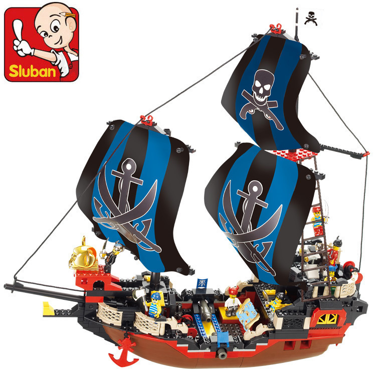 Sluban model building kits compatible with lego city pirate 855 3D blocks Educational model & building toys hobbies for children