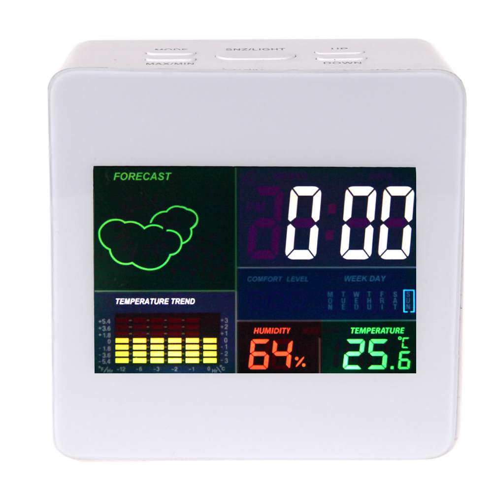 Multifunction Colorful Display Thermometer Hygrometer LCD termometro Clock Desk Snooze Function Weather Forecast Alarm Clock