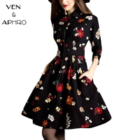 VA Floral Print Vintage Women Dress 2017 Fashion Autumn Winter Three Quarter Knee Length Female Retro