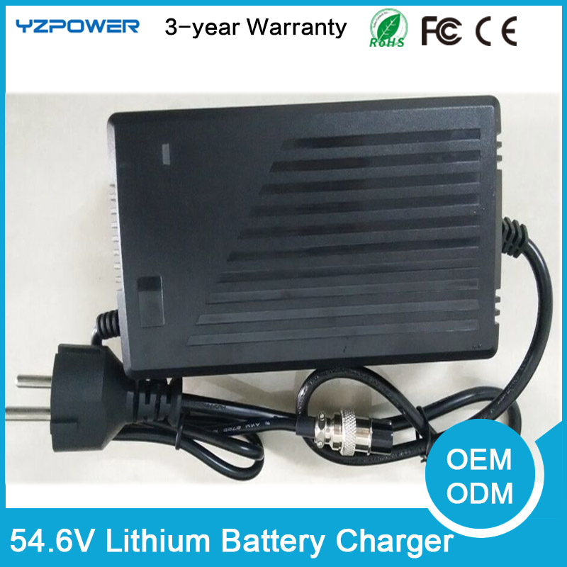 CE ROHS 54.6V 4A 4.3A 4.5A Smart Lithium Battery Charger For 48V Lipo Li-ion Electric Bike Power Tool With Cooling Fan free customs taxes super power 1000w 48v li ion battery pack with 30a bms 48v 15ah lithium battery pack for panasonic cell