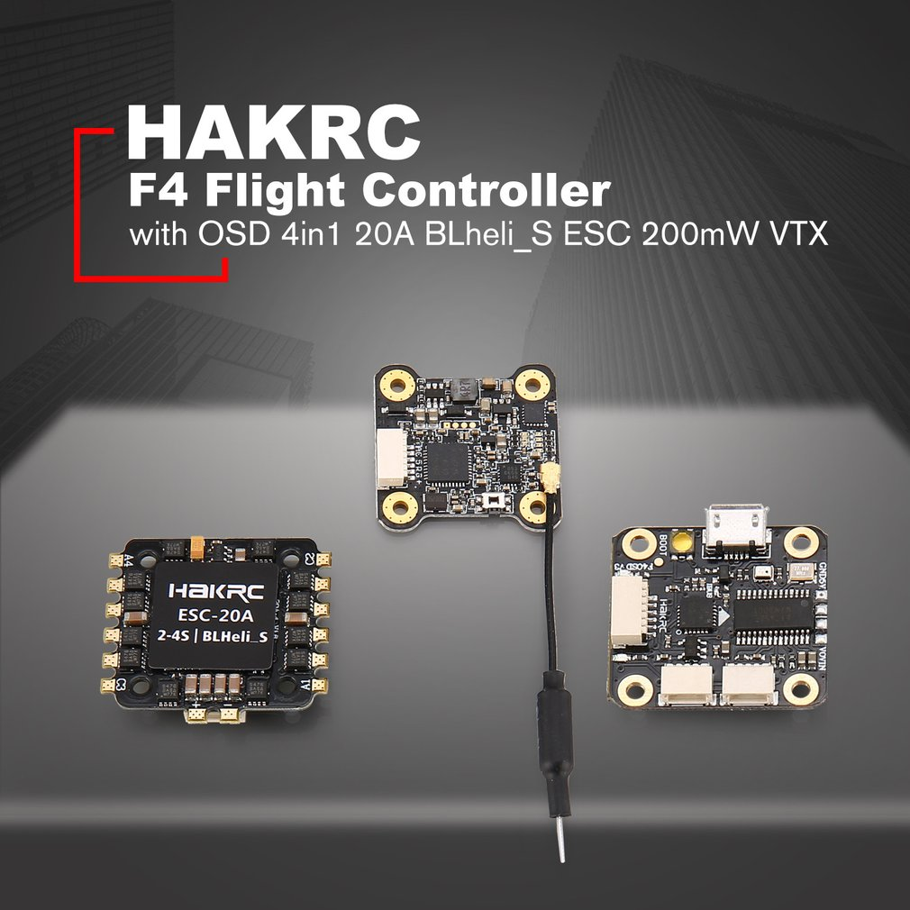 HAKRC F4 Flight Controller Tower with Betaflight OSD BEC 4in1 20A BLheli_S ESC 200mW VTX for RC Racing Quadcopter Drone magideal x tower f4 flight controller 32 bits 4in1 esc built in osd cs bec dshot1200