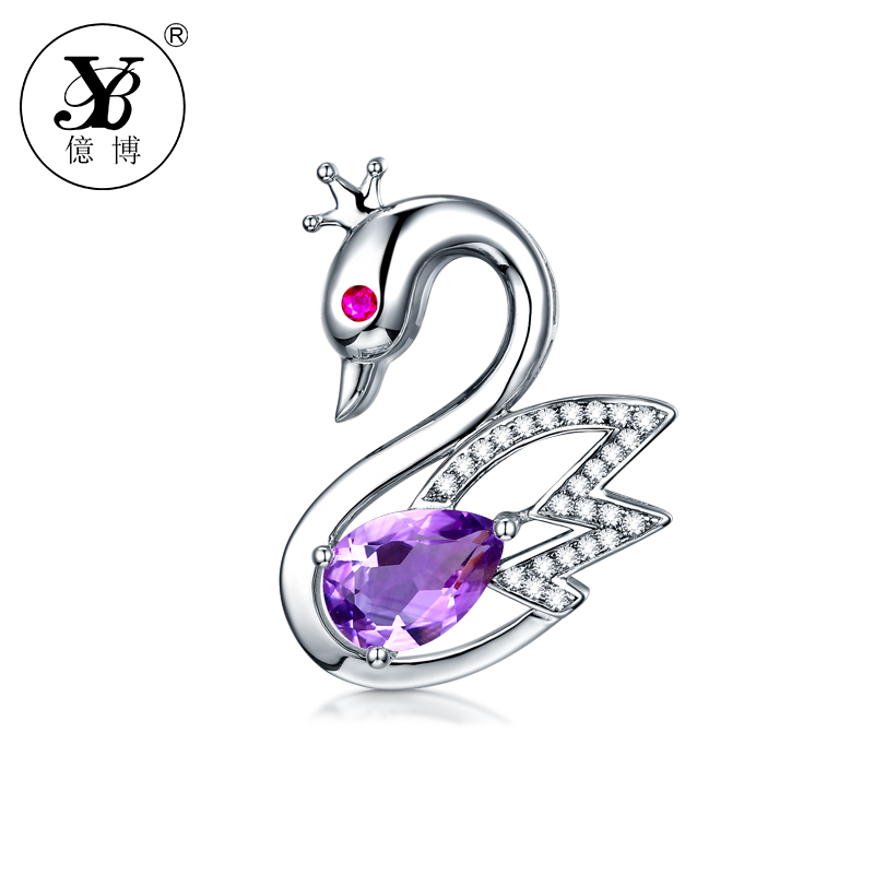 YB Brand Jewelry Necklace Swan Natural Gemstone Pendant Necklaces  Three Color For Choosing Best Gift for Girls Animal Jewelry