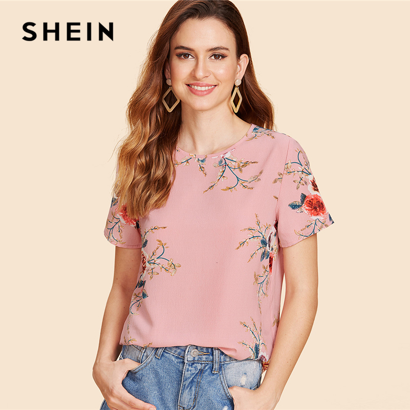 SHEIN Buttoned Keyhole Back Floral Top 2018 Summer Round Neck Short Sleeve Casual Blouse Women Flower Print Pink Blouse