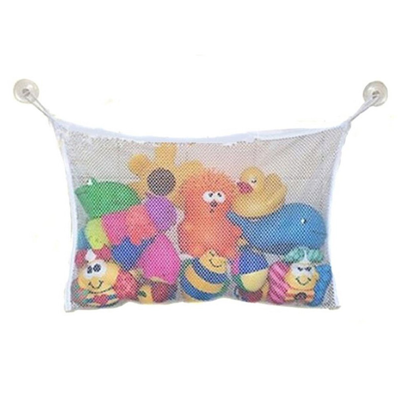 Portable Bathroom Baby Toys Storage Net Bag with 2 Suctions Orgnizing Suction Bag Case Bathroom Hanging Organizer