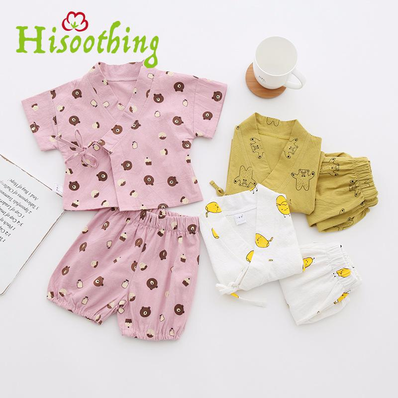 Korean Children In Infants And Young Children Home Furnishing Clothing Baby Suit Summer Baby Cartoon Washing Cotton Suits ...