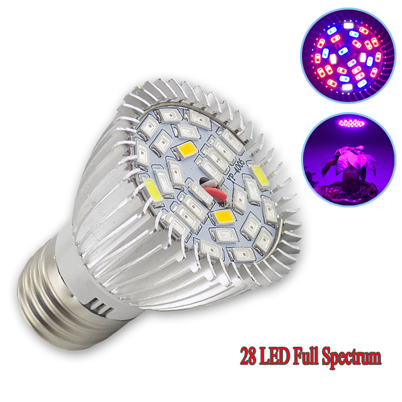 Full Spectrum 28 LED Grow Plant Light Lamp Flower Lighting Bulb UV IR E27 For Hydro System Vegetable Seeding Green House