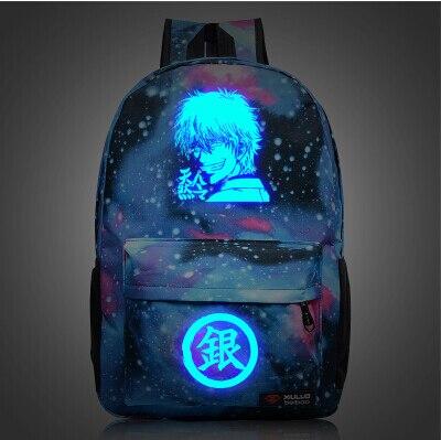 selección premium 803ec c6a04 € 21.52 20% de DESCUENTO|Dropship Anime japonés GINTAMA lona galaxia  impresión luminosa mochilas para niñas adolescentes mochila escolar mochila  ...
