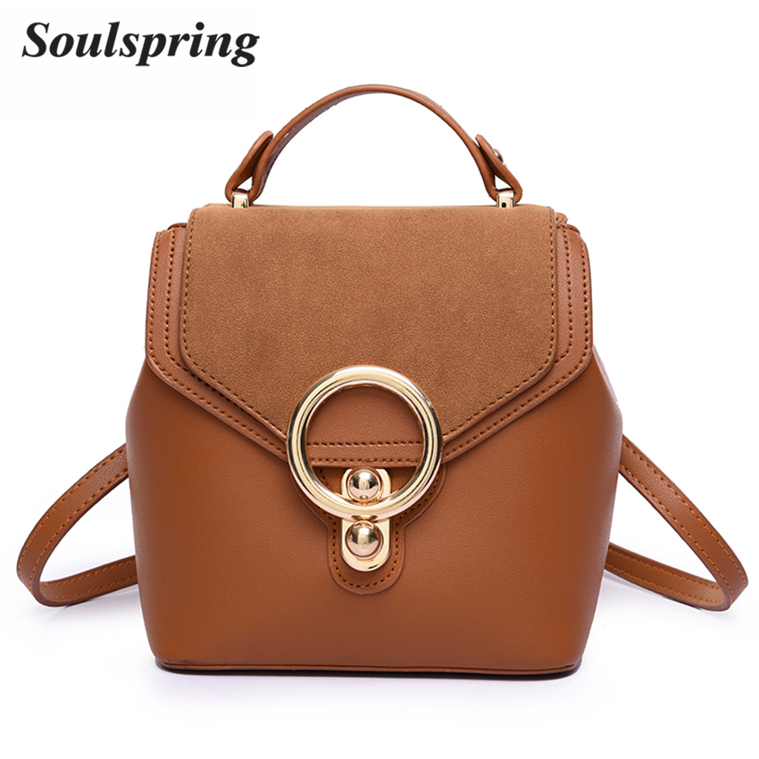 Brand Mini Backpack Women Fashion Lock Ladies School Bag Backpacks For Teenage Girls Pu Leather Female Backpack Sac A Dos New