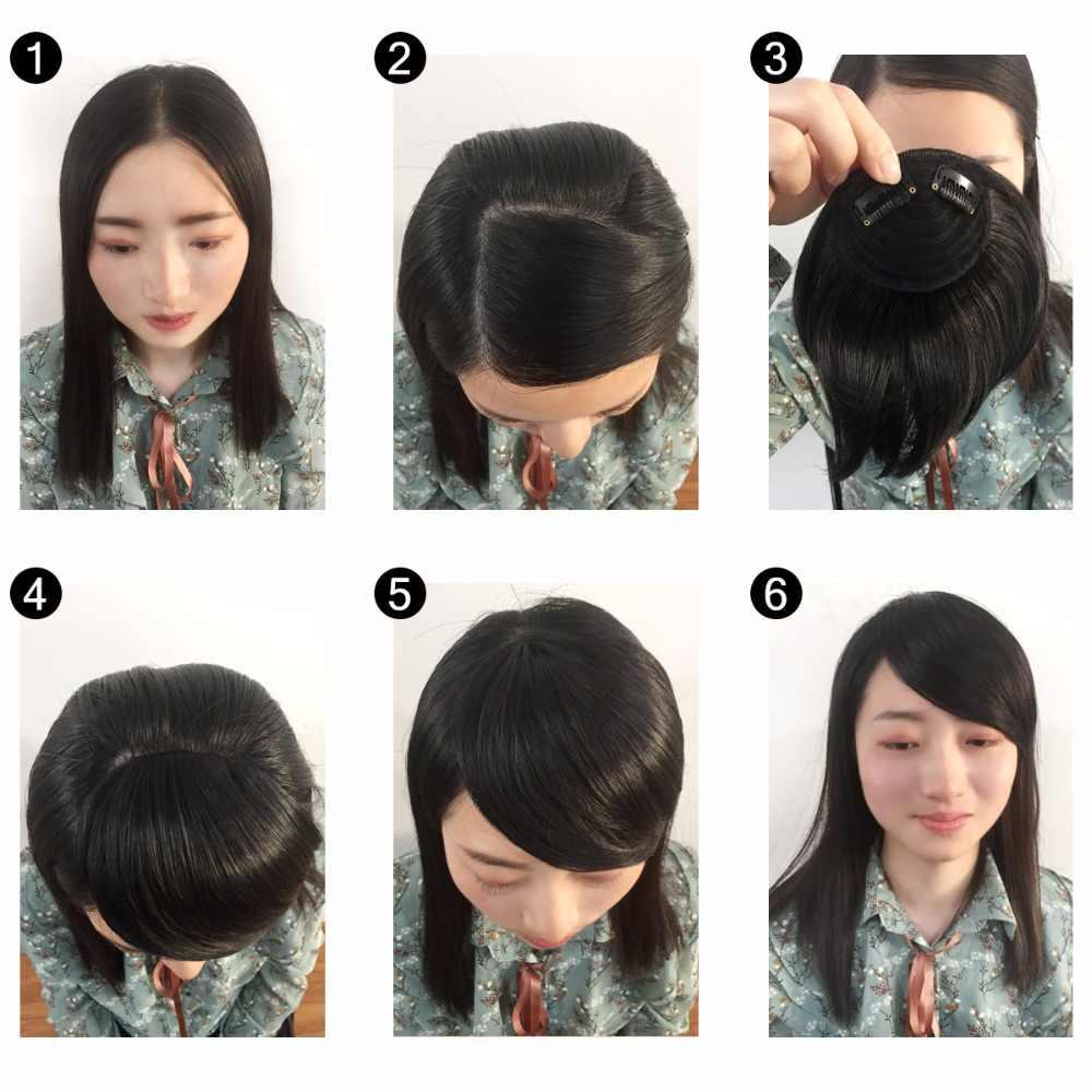 Pinza de pelo de SARLA en flequillo lateral de barrido falso Bang extensiones de pelo sintético Natural pieza de pelo negro marrón B2