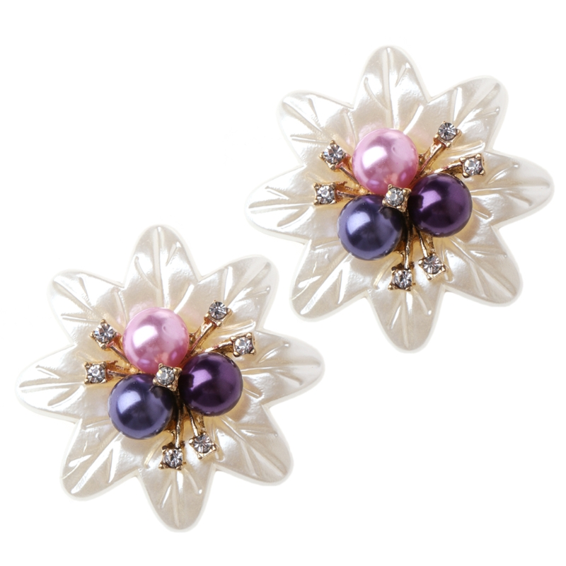 все цены на EYKOSI New 2pcs Floral Shoe Decoration Clothes DIY Faux Pearl Flower Ornaments Charms Headwear Fashion Decorations онлайн