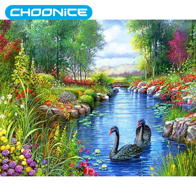Chinese Cross Stitch Landscape Painting Waterfalls Swan River DIY 3D Diamond Embroidery Mosaic Coloring By Numbers Needlework