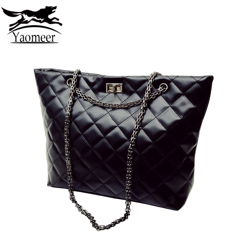 Luxury Handbags Fashion Women Bag Designer Black Soft Pu Leather Quilted Chain Shoulder Bags Famous Brand New Female Lady Totes 2016 new hot luxury plaid women bags handbags high quality leather bags for women shoulder bag famous brand chain shell bag