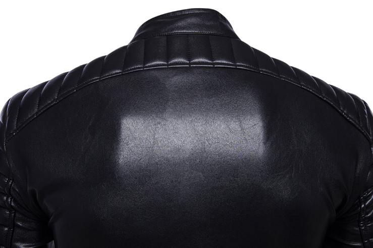Classique noir moto en cuir veste hommes nouveau Style britannique multi-zipper veste décontracté cuir casual Biker veste mâle manteau 5XL - 5