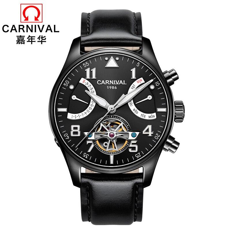 CARNIVAL Fashion Mechanical Watches Top Brand 10 bar waterproof Tourbillon Automatic Watch Men Calendar Luminous skeleton watch цена 2017