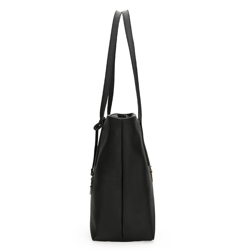 Sac à main femme SA uni noir blanc couleur sac à bandoulière Durable toile décontracté fourre-tout grande capacité sac à provisions sac à main 3 ensembles - 5