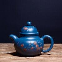 Authentic Yixing famous pure handmade purple clay tea pot Kung Fu Zisha teapot original sky blue mud ball hole teapot