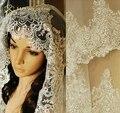 Fotos verdaderas 2015 blanco / marfil Wedding Veil 3 M con peine granos del cordón Mantilla De velo De novia accesorios De la boda Veu De Noiva MD47