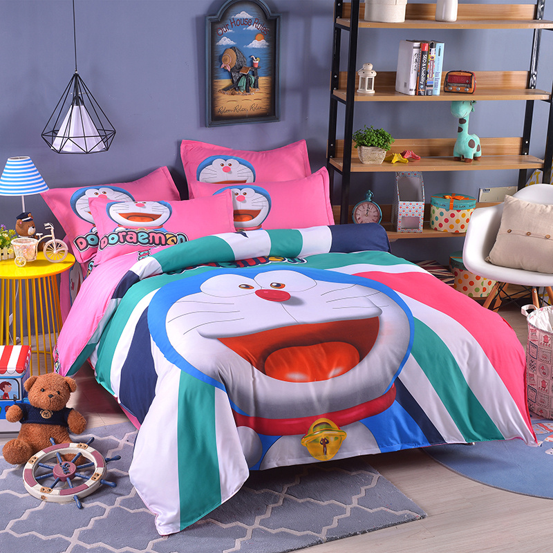 UNIKIDS Cute cartoon duvet cover set bedding set for Kids boy or girls Twin size KT003 blue pink cartoon london buss star shaped polka dot print bedding set queen size for girls home decor cotton duvet quilt covers