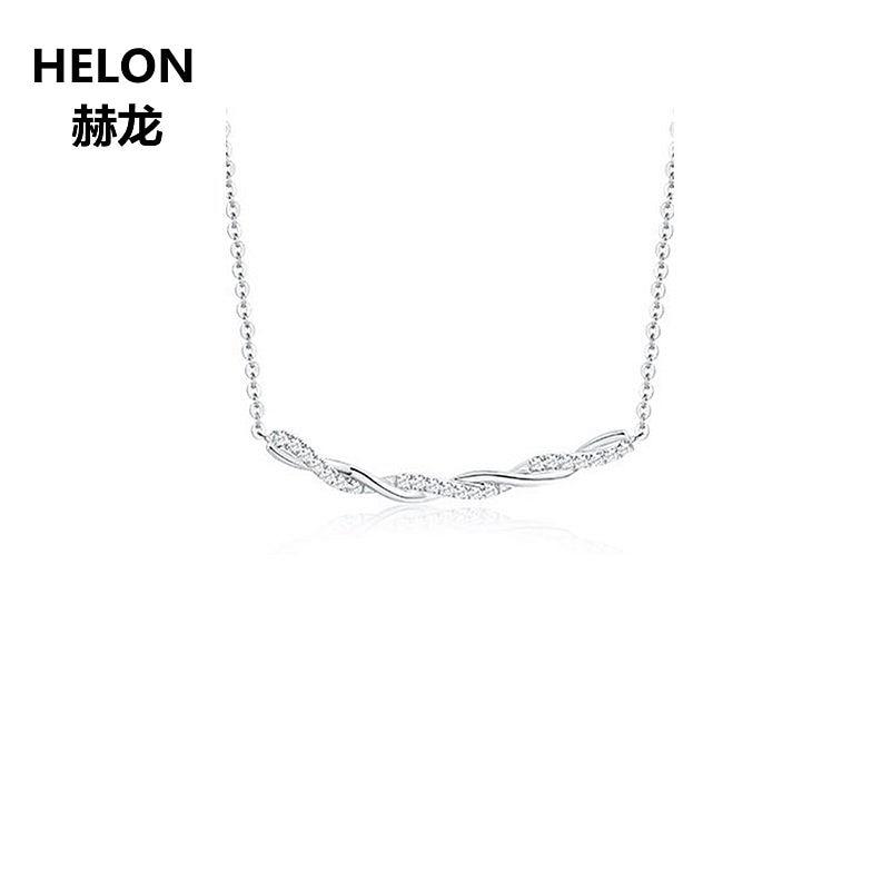 Solid 18k White Gold Natural Diamonds Women Pendant Necklace Engagement Wedding Anniversary Pendant