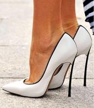 PADEGAO frauen schuhe süßen weißen leder schwarz trim high heels 11 cm stiletto spitz pumps partei schuhe plus größe: 34-45