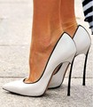 PADEGAO women shoes sweet white leather  black trim high heels  11 cm stiletto pointed pumps party shoes plus size SIZE:34-45