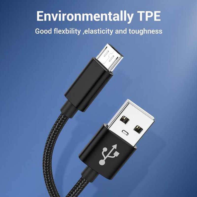 المصغّر USB كابل 2.4A نايلون سريع تهمة USB كابل بيانات لسامسونج شاومي هواوي مايكرو شاحن يو اس بي الحبل أندرويد V8 كابلات الهاتف