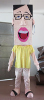 Большие очки ученик талисмана милый маленький костюм для девочек с розовое платье и желтый рубашка