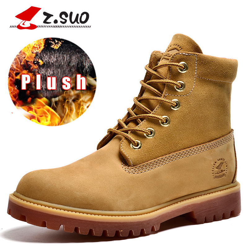 Z.Suo Cow Leather Winter Men Boots With Fur Yellow Mens Winter Boots Genuine Leather Shoes Men Warm Outdoor Snow Boots Male 208M mens shoes warm fur boots men casual shoes male genuine leather zapatos winter snow boots zapatillas hombre plus size 38 50